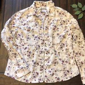 Columbia snap-front cream floral fitted top